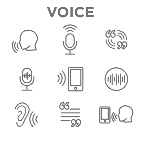 Voiceover or Voice Command Icon with Sound Wave Images Set Illustration