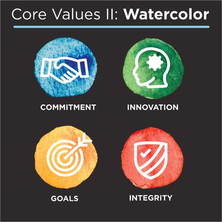 Grundwerte des Unternehmens umreißen Symbole für Websites oder Infografiken Aquarell Standard-Bild - 76657844