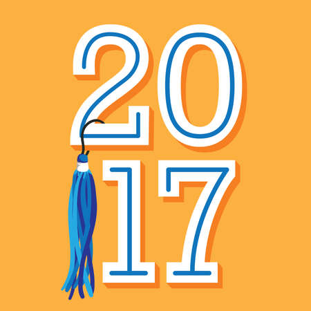 lets party: Class of 2017 Congratulations Graduate Typography with Tassel.