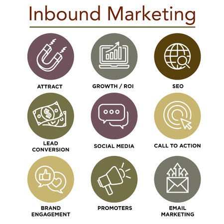 Inbound Marketing Icons with growth, roi, call to action, seo, lead conversion, social media, attract, brand engagement, promoters, campaign, smm. 矢量图像
