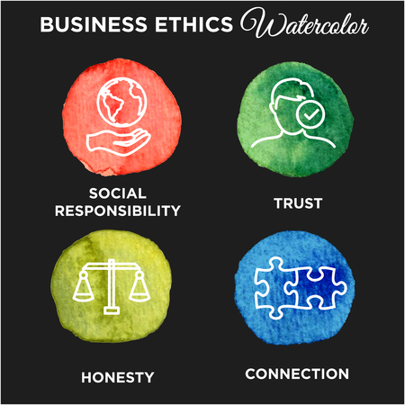 Business Ethics Icon Set Watercolor Illustration