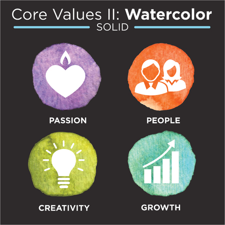 Company Core Values Solid Icons for Websites or Infographics Watercolor Illustration