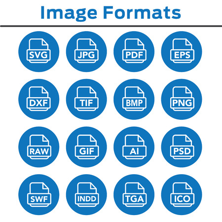 Icons to show different image formats, including JPG, SVG, EPS, DXF, etc