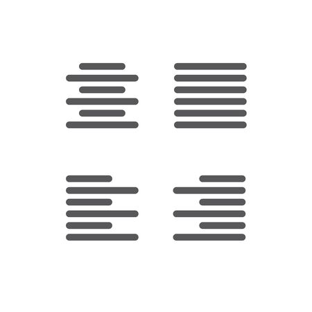 Justified type icon - left justified, right justified, full, and centered icon set