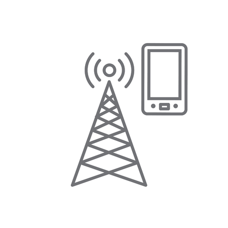 Cellphone tower icon w emitting pinging transmission waves