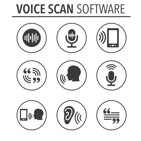 Voiceover or Voice Command Icon with Sound Wave Images Set 向量圖像