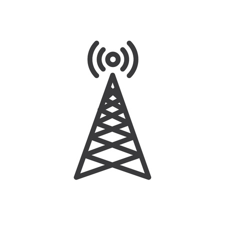 Cellphone tower icon emitting pinging transmission waves