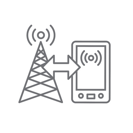 wireless signal: Cellphone tower icon w emitting pinging transmission waves