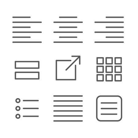 Justified type icon set - left justified, right justified, full, & centered  and UI UX icons Çizim