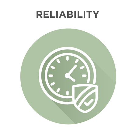 Punctuality or Reliability Icon with clock and shield