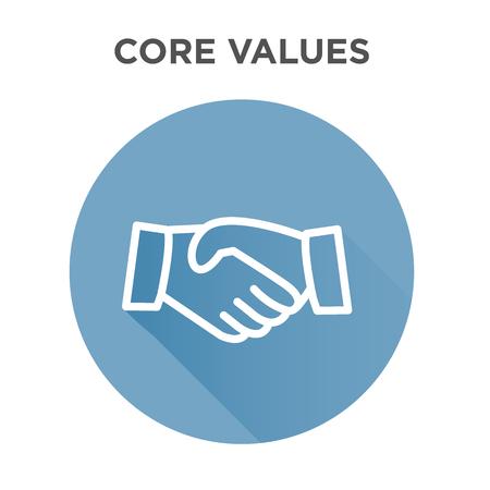 Icône de valeurs de base avec poignée de main ou mains tendues