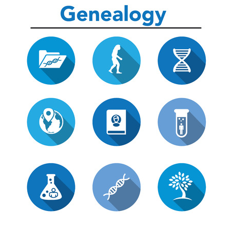 Ancestry or Genealogy Icon Set with Family Tree Album, ADN, béchers, fiche de famille chimique, etc. Vecteurs