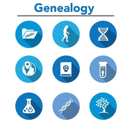 Voorgeslacht of Genealogie Icon Set met Family Tree Album, DNA, bekerglazen, chemisch familiearchief, enz