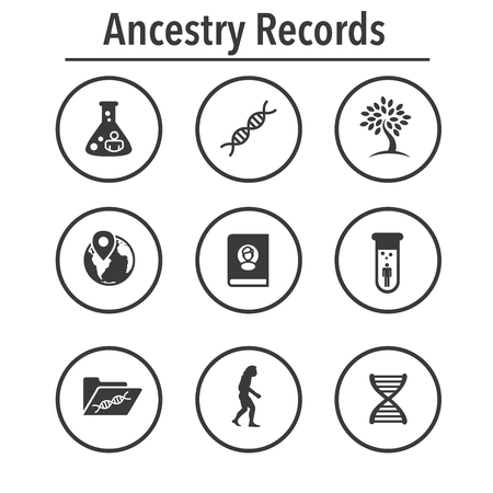Ancestry or Genealogy Icon Set with Family Tree Album, DNA, beakers, chemical family record, etc