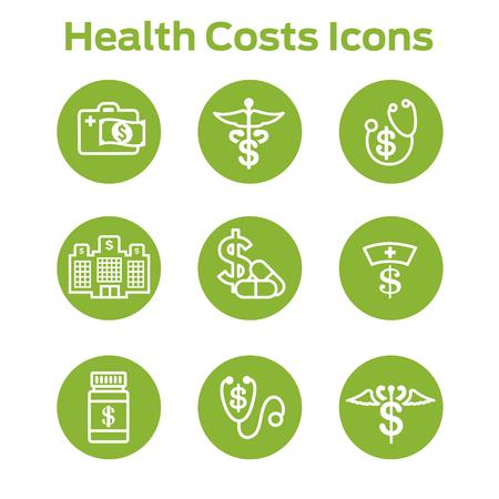비싼 건강 관리의 개념을 보여주는 의료 비용 및 비용 일러스트