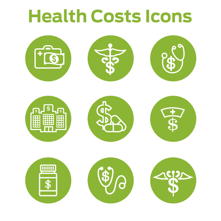 Healthcare costs & expenses showing concept of expensive health care Çizim