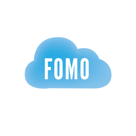 FOMO Social Icon - Fear of Missing Out Trendy Modern Acronym - Social Media Illusztráció