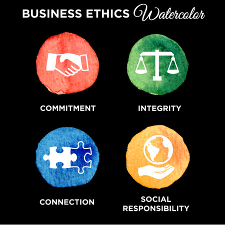 Business Ethics Solid Icon Set Illustration