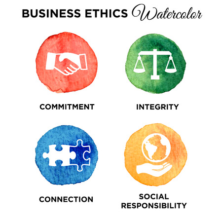 Business ethics solid icon set.