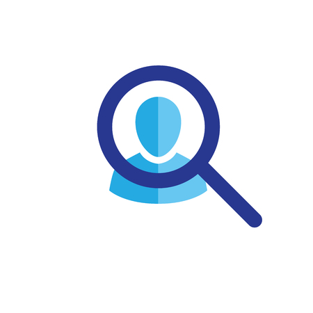 Target market icon with people and magnifying glass