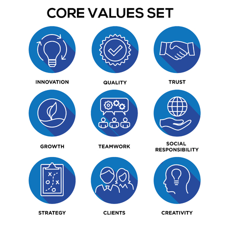 Core Values - Mission, integrity value icon set.