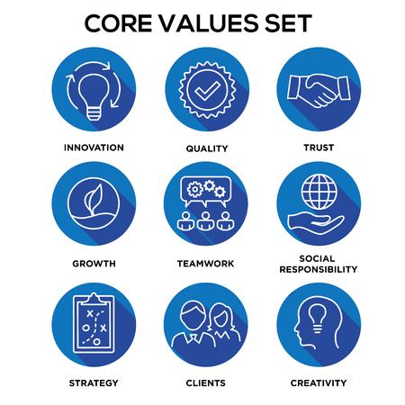 Core Values - Mission, integrity value icon set.