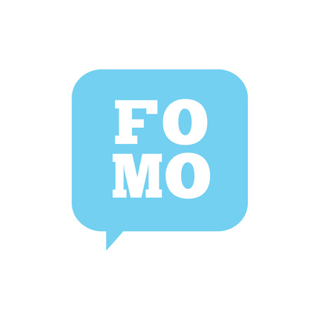 paranoia: FOMO Social Icon - Fear of Missing Out Trendy Modern Acronym - Social Media Illustration