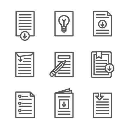 ホワイト ペーパーのダウンロード アイコン ボタン セット  イラスト・ベクター素材