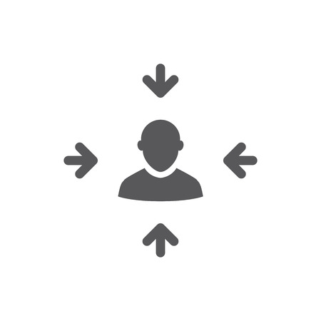Target market icon with arrow image and person Illustration