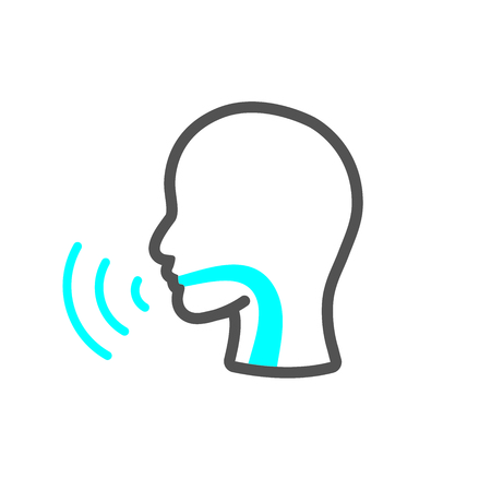 Voice emitting sound via voice chords with face 일러스트