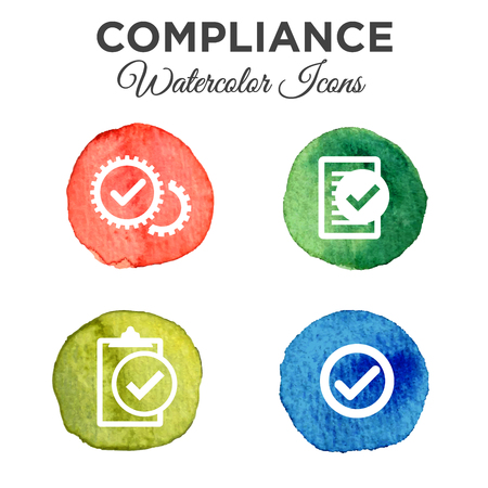 Watercolor in compliance icon set on white background.