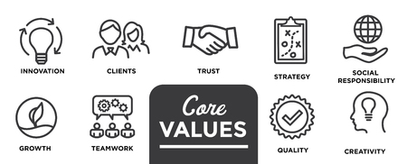 Core Values - Mission, integrity value icon set with vision, honesty, passion, and collaboration as the goal / focus