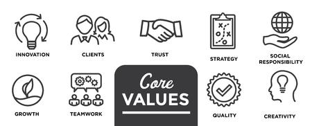 Kernwaarden - Missie, integriteitswaarde icon set met visie, eerlijkheid, passie en samenwerking als doel / focus Vector Illustratie