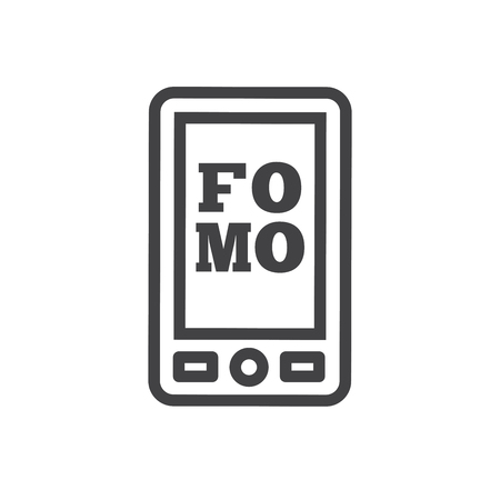 FOMO Social Icon - Fear of Missing Out Trendy Modern Acronym - Social Media Illustration