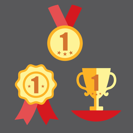 Medal with Trophy, and Ribbon Award Icon Set
