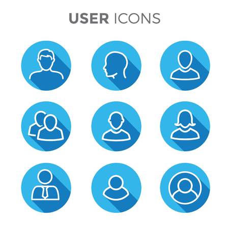 User Icon Set w Man, Woman, and Multiple People