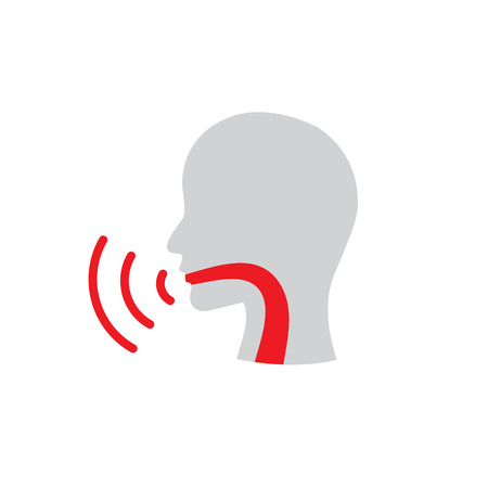 Voice emitting sound via voice chords with face Illustration