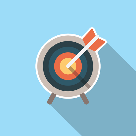 specific: Target market icon with arrow and stand vector illustration.