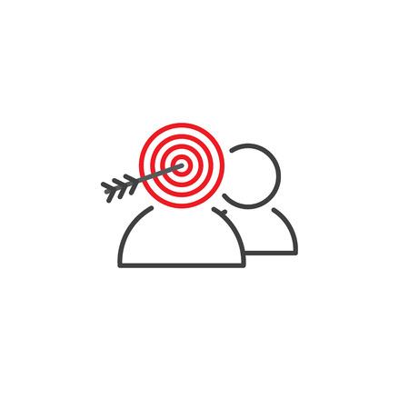 Doel markt icoon met mensen en doelgroep