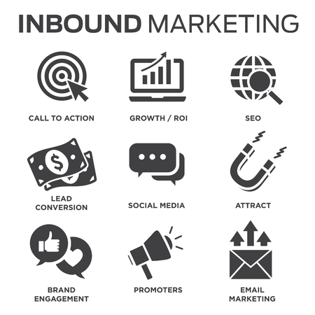 Solid inbound marketing vector icon set - CTAs, social media, magnet Stock fotó - 89000330