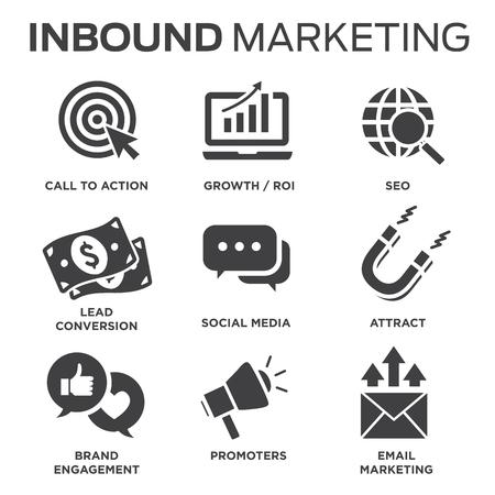Solidny zestaw ikon wektorowych marketingu przychodzącego - wezwania do działania, media społecznościowe, magnes