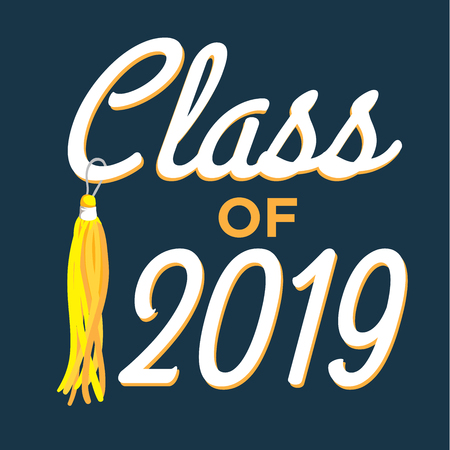 2019のクラスタッセルで卒業生のタイポグラフィを祝います 写真素材 - 89403993