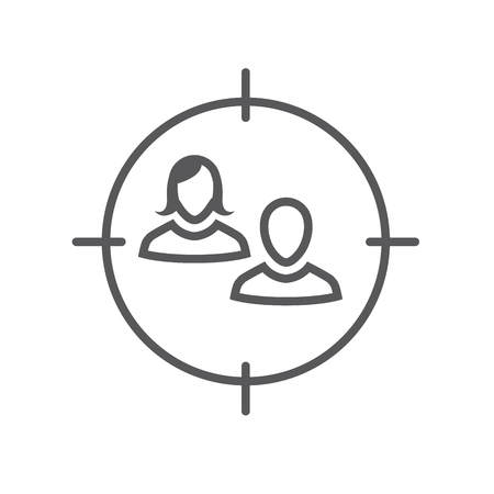 Target market icon with people avatar and target Illustration