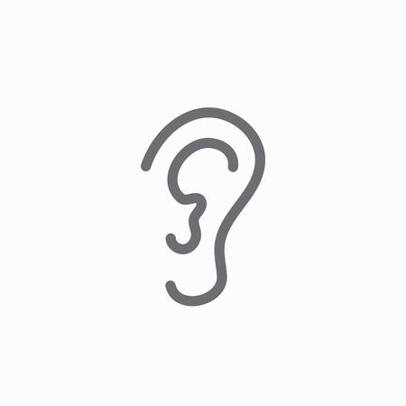 귀와 귀 운하 개요 아이콘 이미지 - 청력 상실 또는 청력 상실.