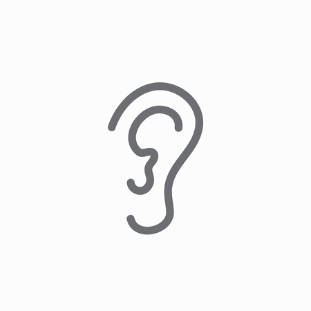 Ear and ear canal outline icon image - hearing or listening loss.