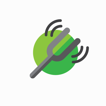 Tuning fork icon with a sound wave image Imagens - 89911391