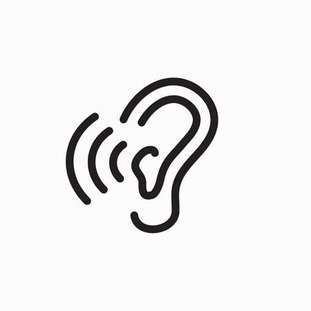 Ear and ear canal outline icon image - hearing or listening loss Stock Vector - 90419643