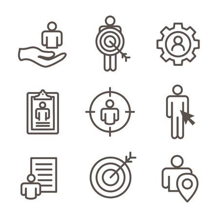 Set van doel markt concept pictogrammen.