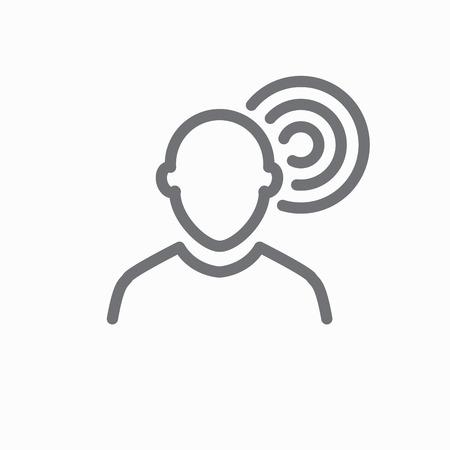 耳聴覚、リスニングの損失概念図の概要アイコン。