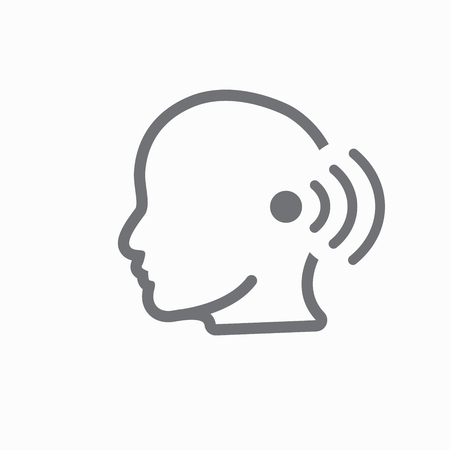 Ear and ear canal outline icon, hearing or listening loss concept illustration. Illustration